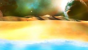 Έρημος απεικόνισης, θάλασσα, διαστημικό ταξίδι Στοκ Εικόνες