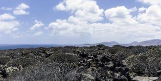 Έρημος και ωκεανός/Lanzarote Στοκ Εικόνες