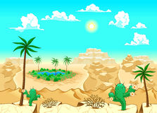 Έρημος με την όαση. Στοκ Εικόνα