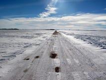 έρημος οδικός χειμώνας Στοκ εικόνα με δικαίωμα ελεύθερης χρήσης