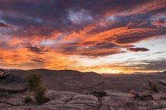 Έρημος πετρών ηλιοβασιλέματος, Talsint, Μαρόκο Στοκ φωτογραφία με δικαίωμα ελεύθερης χρήσης