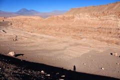 Έρημος Atacama κατά τη διάρκεια του ηλιοβασιλέματος με το πρόσωπο σκιών Στοκ Φωτογραφία