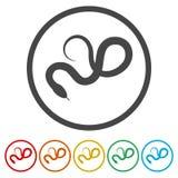 Έρπον επίπεδο εικονίδιο φιδιών για το ζώο apps, 6 χρώματα συμπεριλαμβανόμενα απεικόνιση αποθεμάτων
