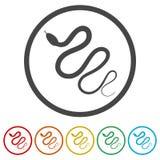 Έρπον επίπεδο εικονίδιο φιδιών για το ζώο apps, 6 χρώματα συμπεριλαμβανόμενα διανυσματική απεικόνιση