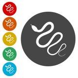 Έρπον επίπεδο εικονίδιο φιδιών για το ζώο apps απεικόνιση αποθεμάτων