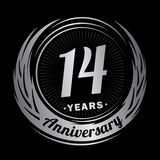 14 έτη επετείου Κομψό σχέδιο επετείου 14ο λογότυπο διανυσματική απεικόνιση
