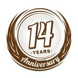 14 έτη επετείου Κομψό σχέδιο επετείου 14ο λογότυπο απεικόνιση αποθεμάτων