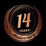 14 έτη επετείου Κομψό σχέδιο επετείου 14ο λογότυπο ελεύθερη απεικόνιση δικαιώματος