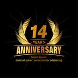 14 έτη επετείου Κομψό σχέδιο επετείου 14ο λογότυπο ετών απεικόνιση αποθεμάτων