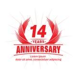 14 έτη επετείου Κομψό σχέδιο επετείου 14ο λογότυπο ετών ελεύθερη απεικόνιση δικαιώματος