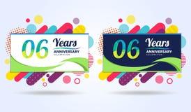 06 έτη επετείου με τα σύγχρονα τετραγωνικά στοιχεία σχεδίου, ζωηρόχρωμη έκδοση, σχέδιο προτύπων εορτασμού, λαϊκό πρότυπο εορτασμο ελεύθερη απεικόνιση δικαιώματος
