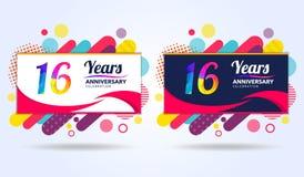 16 έτη επετείου με τα σύγχρονα τετραγωνικά στοιχεία σχεδίου, ζωηρόχρωμη έκδοση, σχέδιο προτύπων εορτασμού, λαϊκό πρότυπο εορτασμο διανυσματική απεικόνιση