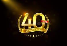 40 έτη επετείου με τη χρυσή κορδέλλα στεφανιών δαφνών στοκ εικόνες