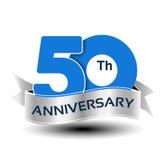 50 έτη επετείου, μπλε αριθμός με την ασημένια κορδέλλα απεικόνιση αποθεμάτων