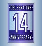 14 έτη που γιορτάζουν το πρότυπο σχεδίου επετείου 14ο λογότυπο Διάνυσμα και απεικόνιση διανυσματική απεικόνιση