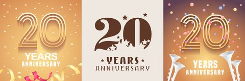 20 έτη συνόλου επετείου διανυσματικού εικονιδίου, σύμβολο στοιχείο σχεδίου γραφι διανυσματική απεικόνιση