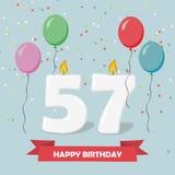 57 έτη selebration χαιρετισμός καρτών γενεθλίων ευτυχής Στοκ εικόνα με δικαίωμα ελεύθερης χρήσης