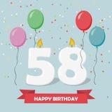 58 έτη selebration χαιρετισμός καρτών γενεθλίων ευτυχής Διανυσματική απεικόνιση