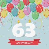 61 έτη selebration Χρόνια πολλά ευχετήρια κάρτα με τα κεριά, το κομφετί και τα μπαλόνια Στοκ Εικόνες