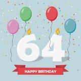 64 έτη selebration Χρόνια πολλά ευχετήρια κάρτα με τα κεριά, το κομφετί και τα μπαλόνια Στοκ φωτογραφία με δικαίωμα ελεύθερης χρήσης