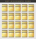 Έτοιμα δελτία έκπτωσης σχεδίου χρυσά από 5 έως 99 τοις εκατό απεικόνιση αποθεμάτων