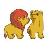 Έτοιμες αφρικανικές ζωικές διανυσματικές λιοντάρι και λιονταρίνα εικόνας αυτοκόλλητων ετικεττών ελεύθερη απεικόνιση δικαιώματος