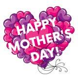 Έτοιμη ευτυχής μητέρα ` s καρτών ` ημέρα ` με τις μεγάλες καρδιές επίσης corel σύρετε το διάνυσμα απεικόνισης ελεύθερη απεικόνιση δικαιώματος