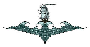 έτοιμη ναυσιπλοΐα απεικόνισης logotype για να χρησιμοποιήσει το διανυσματικό σκάφος Στοκ εικόνα με δικαίωμα ελεύθερης χρήσης