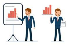 Έτοιμος να χρησιμοποιήσει το σύνολο δημιουργιών χαρακτήρα Σημεία επιχειρηματιών στο διάγραμμα Στοκ Εικόνα