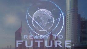 Έτοιμο έως μελλοντικό κείμενο με το τρισδιάστατο ολόγραμμα του πλανήτη Γη ενάντια στο σκηνικό της σύγχρονης μητρόπολης φιλμ μικρού μήκους