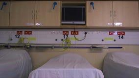 Έτοιμο νοσοκομείο ελέους εγκαταστάσεων θαλάμων ασθενή απόθεμα βίντεο