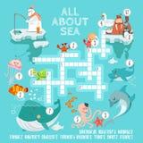 Έτοιμο παιχνίδι σταυρόλεξων για τα πλάσματα θάλασσας Στοκ εικόνα με δικαίωμα ελεύθερης χρήσης