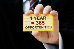 1 έτος είναι ίσο με 365 ευκαιρίες Στοκ φωτογραφία με δικαίωμα ελεύθερης χρήσης