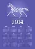 2014 έτος ημερολογίου αλόγων Στοκ Εικόνες