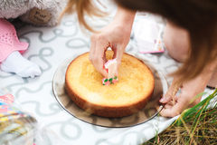 1 έτος κέικ γενεθλίων Στοκ Εικόνες