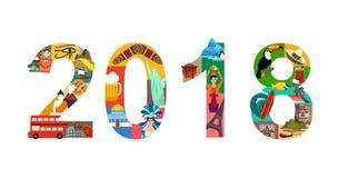 έτος ταξιδιού του 2018 νέο απεικόνιση αποθεμάτων