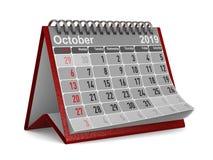 έτος του 2019 Ημερολόγιο για τον Οκτώβριο Απομονωμένη τρισδιάστατη απεικόνιση απεικόνιση αποθεμάτων
