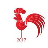 Έτος του κόκκορα 2017 κινεζικό νέο έτος Κόκκινος κόκκορας στο άσπρο υπόβαθρο Ευχετήριες κάρτες Ελεύθερη απεικόνιση δικαιώματος