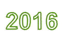έτος του 2016 που γίνεται από τα πράσινα φύλλα Στοκ εικόνα με δικαίωμα ελεύθερης χρήσης