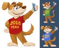 έτος του 2018 του σκυλιού Αστείες σκυλί και γάτα ζωηρόχρωμο mak μπλουζών Στοκ Εικόνες