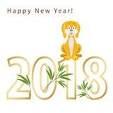 έτος του 2018 του σκυλιού στο κινεζικό ημερολόγιο κίτρινος απεικόνιση αποθεμάτων