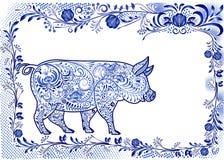 έτος του 2019 του χοίρου Διακοσμητικός διαμορφωμένος χοίρος σε ένα ορθογώνιο floral πλαίσιο με το διάστημα για το κείμενο ύφος τη διανυσματική απεικόνιση