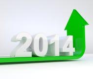 Έτος 2014 - το πράσινο βέλος κάμπτει προς τα πάνω Στοκ Εικόνες