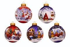 έτος Χριστουγέννων 2007 σφαιρών Νέα παιχνίδια έτους ` s οικολογικός ξύλινος διακοσμήσεων Χριστουγέννων Στοκ Φωτογραφίες