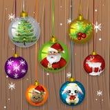 έτος Χριστουγέννων 2007 σφαιρών διανυσματική απεικόνιση