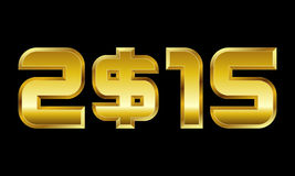 Έτος 2015, χρυσοί αριθμοί με το σύμβολο νομίσματος δολαρίων Στοκ Εικόνες