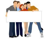Έφηβοι που κρατούν το κενό έμβλημα Απεικόνιση αποθεμάτων