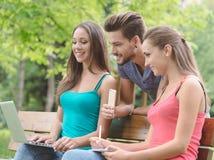 Έφηβοι στο πάρκο που μελετά από κοινού Στοκ Εικόνα