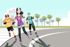 Έφηβοι Rollerblading απεικόνιση αποθεμάτων