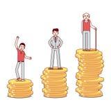 Έφηβος, άτομο, ηληκιωμένος που στέκεται στους σωρούς των νομισμάτων απεικόνιση αποθεμάτων